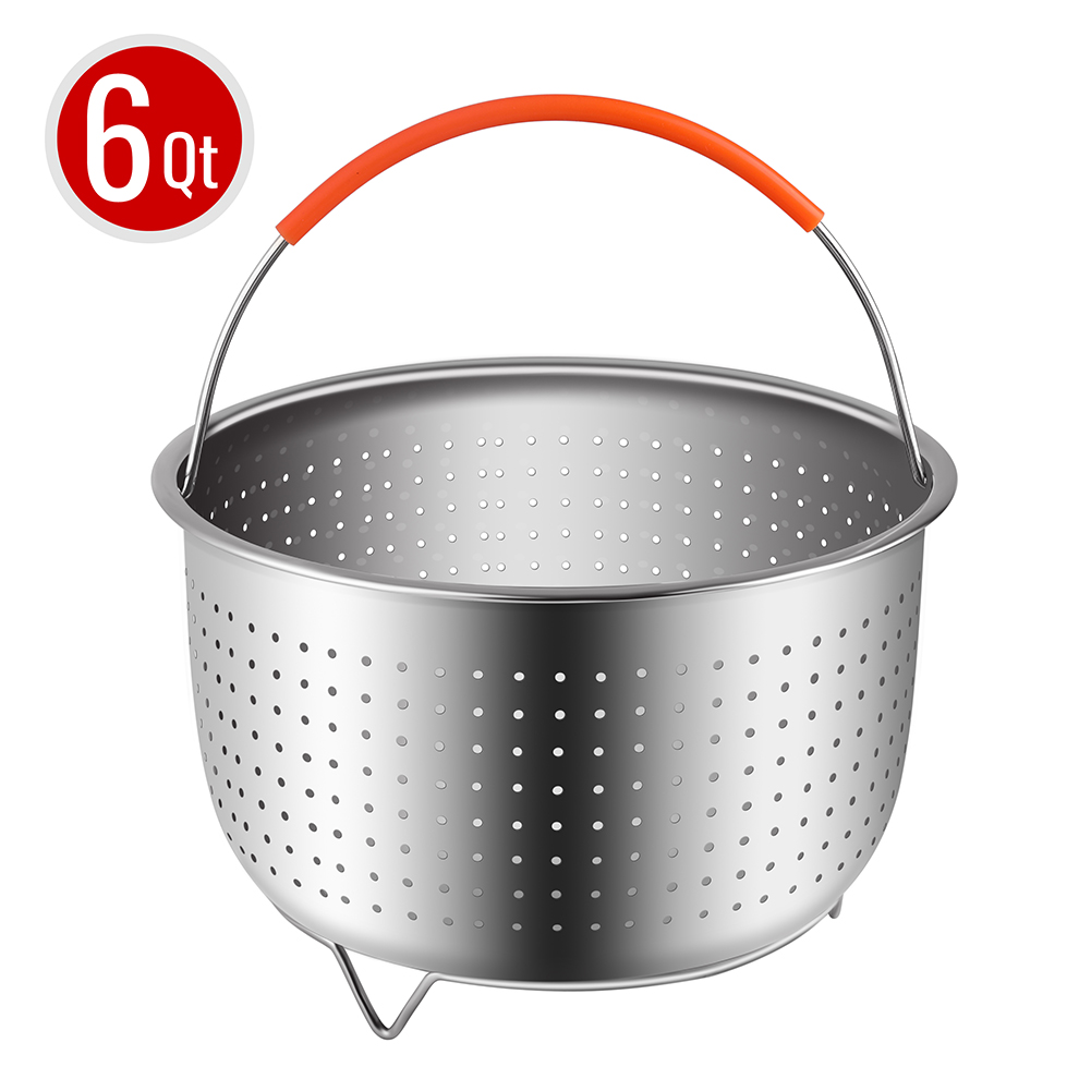<strong>Steamer Basket for 6 or 8 Quart Instant Pot Pressure Cooker, Sturdy Stainless Steel Steamer Insert with Silicone Covered Handle, Great Kitchen Tool Accessory for Steaming Vegetables Fruits Eggs </strong>